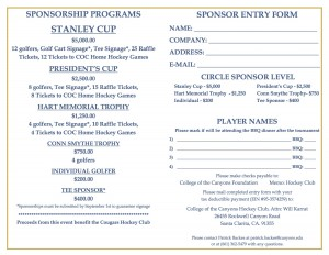 Cougars Hockey Golf Registration 2015 2