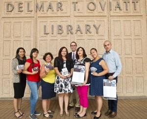The Delmar T. Oviatt Library grant winners. Photos: David J. Hawkins/CSUN