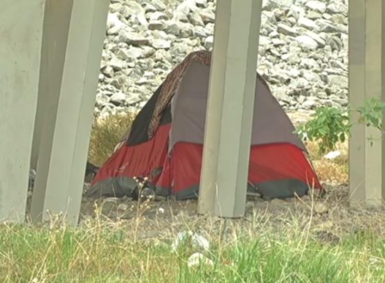 homeless tent under a freeway overpass