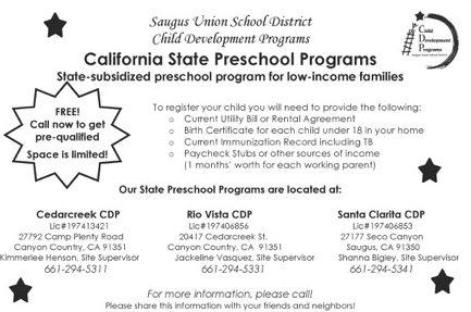 california state preschool scvnews saugus schools offering subsidized preschool 640