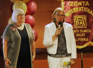 Zonta Club of SCV President Karen Maleck-Whiteley and 2016 SCV Woman of the Year Lois Bauccio. Bauccio was nominated by the Zonta Club of SCV and was named 2016 SCV Woman of the Year at a dinner banquet on May 6.