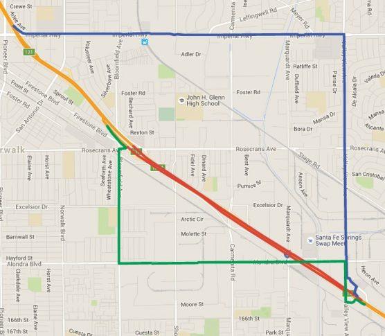 I-5 Full FWY Closure Detour Map