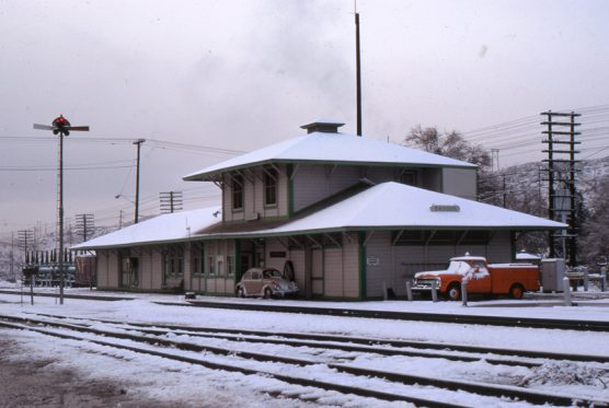 """The Guthries were living in the depot when snow """"stuck"""" Dec. 19, 1970."""