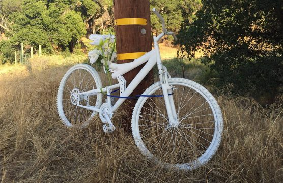 A ghost bike in Bennett's honor continues to mark the location on Placerita Canyon Road where the cyclist lost his life in May. Photo: Ron Kraus