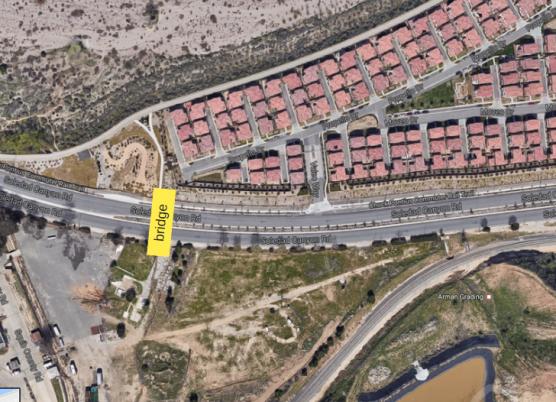 Soledad Canyon Road pedestrian bridge location