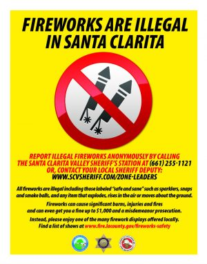 zero tolerenace for illegal fireworks in santa clarita