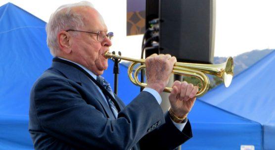 "Bob Danis plays ""Taps"" at the Vietnam Veterans Memorial Wall, Valencia, California, September 23, 2013."