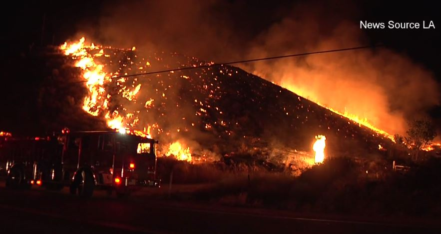 Val Verde brush fire caused by illegal fireworks. Photo: News Source LA