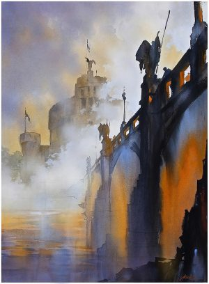 'Fog on the Tiber - Rome,' watercolor by Thomas W. Schaller