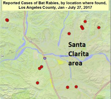 Rabid bat reports for 2017 in Los Angeles County as of July 27, 2017