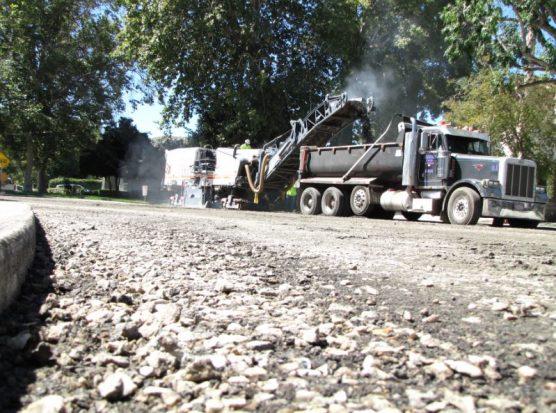 Santa Clarita road rehab project scraper
