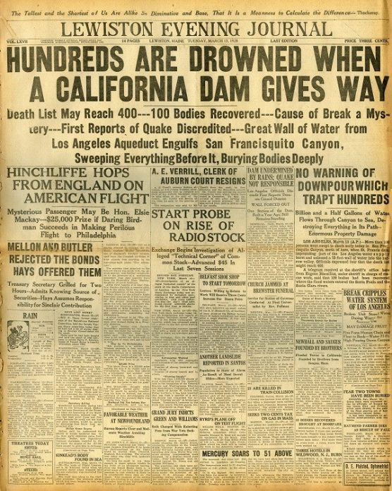 St. Francis Dam disaster coverage in Lewiston Eveing Journal