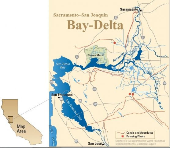 water fight - Map of the Sacramento-San Joaquin Bay-Delta. (California Department of Water Resources)