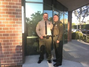 Deputy Bob Garcia and Custody Assistant Manny Ramirez, SCV Sheriff's Station's Employees of the Month for August 2017.