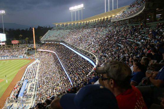 fanfest - Dodger Stadium at night. mlb 2019 draft | Photo: Stephen K. Peeples