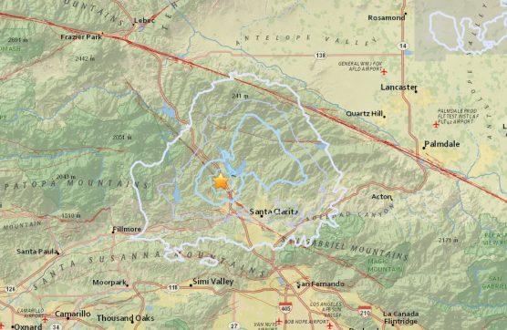 Earthquake map Castaic 3.5 August 27, 2017