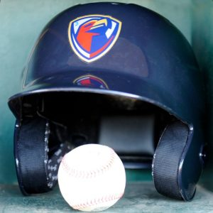 Lancaster JetHawks batting helmet and ball