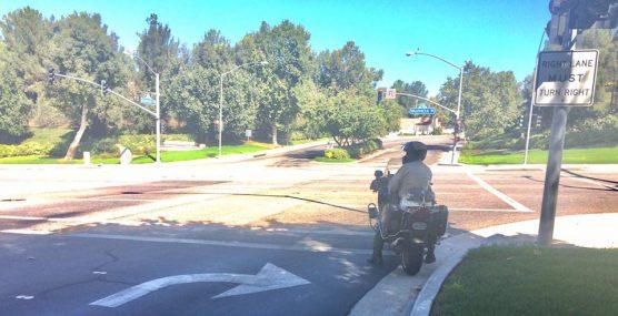 SCV Sheriff's Station deputy on motorcycle with radar