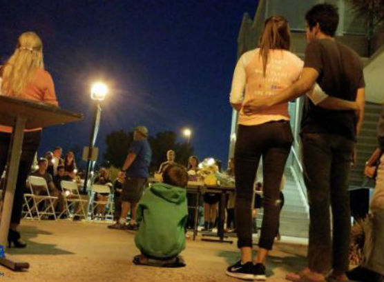 Vigil at COV for Brayan Rodriguez. Photo: Caleb Lunetta/KHTS.