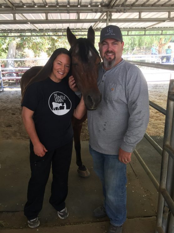 Gentle Barn Santa Clarita cofounders Ellie Laks and Jay Weiner with Rascalina