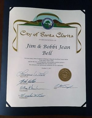 Santa Clarita City Council certificate of recognition for Jim and Bobbi Jean Bell, presented October 12, 2017 by Mayor Pro-Tem Laurene Weste.