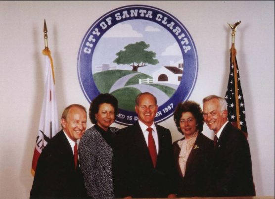"First City Council of the City of Santa Clarita, circa 1987. From left, Mayor Howard ""Buck"" McKeon, Mayor Pro-Tern Jan Heidt, Councilmembers Dennis Koontz, Jo Anne Darcy and Carl Boyer."