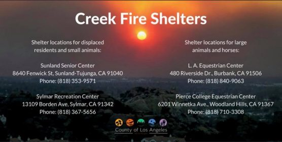 Creek fire shelters