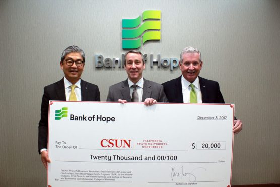 Bank of Hope officials presented CSUN with a check for $20,000