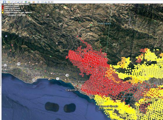 Thomas Fire map 10:45 am Dec. 10, 2017