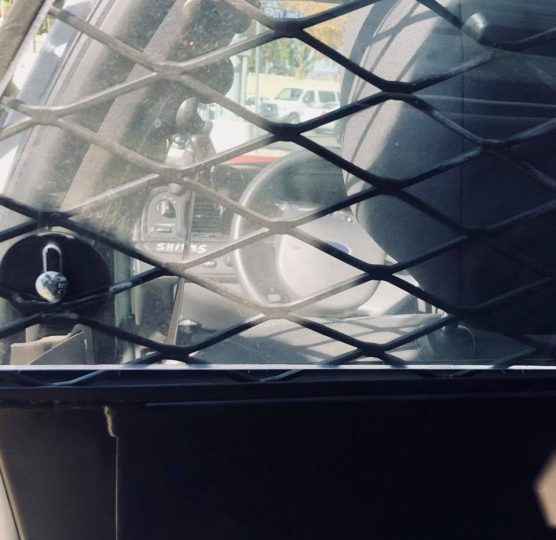 Sheriff's patrol car backseat