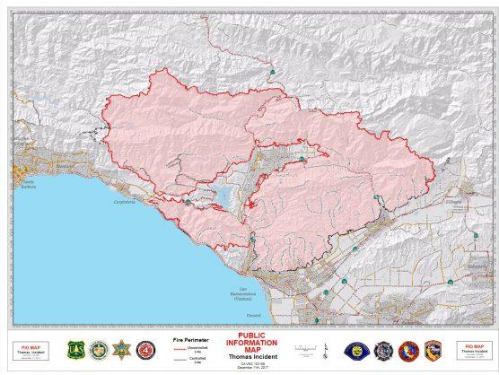 Thomas Fire map, Dec. 11, 2017