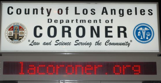 Los Angeles County Coroner's Office sign