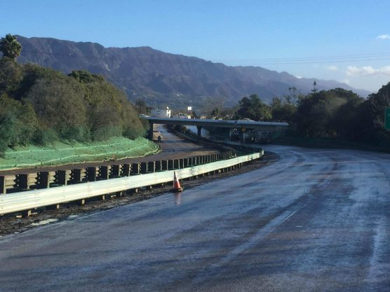 Caltrans digs out US 101 at Olive Mill Road in Montecito