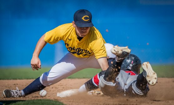 College of the Canyons second baseman Ivan Lomeli loses the ball as he tries to tag Chaffey College's Bodie Parker (#3) while Parker was attempting to steal the base. Parker was safe during the fourth inning Saturday, February 17, 2018 as College of the Canyons beat Chaffey College 12-9. Photo: Kevin Karzin.