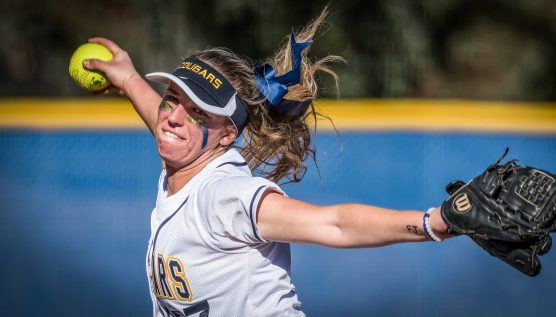 College of the Canyons starting pitcher Katie Taix delivers a pitch against Ventura College Thursday, February 8, 2018 at College of the Canyons.