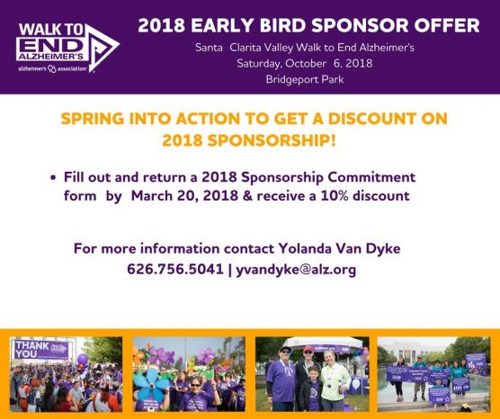 Early Bird Discount Walk to End Alzheimer's Sponsorship
