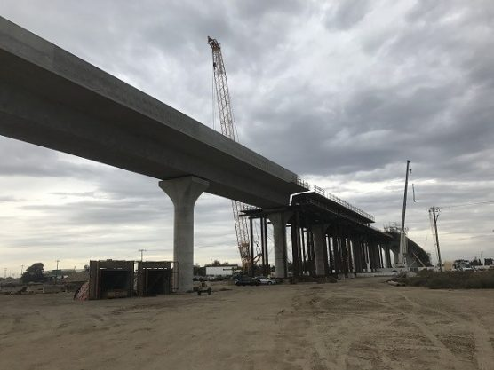 Construction continues on an elevated section of high-speed rail track near downtown Fresno, California. (Matthew Renda/CNS)
