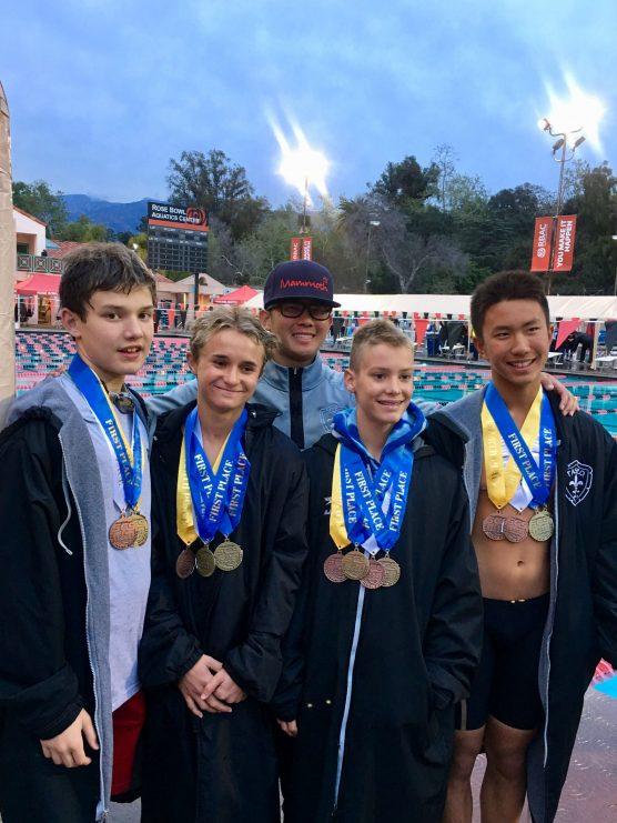 From left to right, Boys' 11-12 Paseo Aquatics Relay team: Nolan Hill, Luke Bezanilla, Coach Daiki Sato, Adam Meldrum and Daniel Jo.