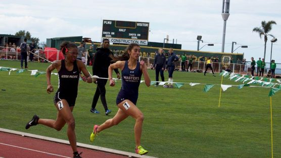 Seanne Nalbandyan (right), The Master's University track and field runner (file photo).