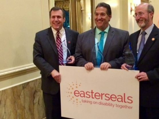 Sen. Scott Wilk (left), received Easter Seals California's 2018 Senate Champion Award. Assemblyman Jim Frazier won the 2018 Assembly Champion Award and Steve Glazer won the Senate Advocate Award. (Photo via Facebook)