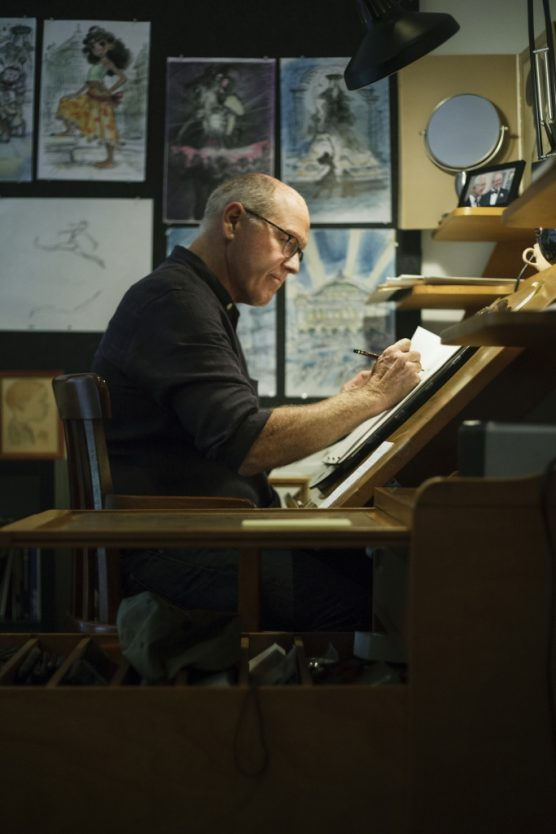 Glen Keane, CalArts alum and Academy Award winner, working at his animation desk | Image by Monica Hervey, 2017.