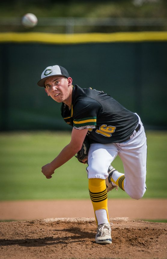 The Northridge Academy Pumas traveled to Canyon High School Saturday, March 31, 2018 for a non-conference baseball game which was won by Canyon High School 19-2 and stopped after 4 1/2 innings because of the 10-run mercy rule. Canyon senior Mason West #16 got the victory in his first start of the season. West pitched three innings, giving up 2 runs on 1 hit while striking out 7 and walking only 1 batter. Canyon improved to 6-7 on the year.