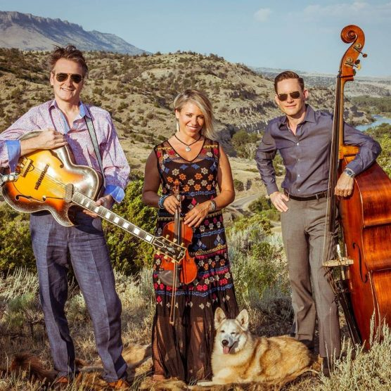 Hot Club of Cowtown: Whit Smith, Elana James and Jake Erwin (with Eva, their since-departed mascot and road manager). | Photo: Ryan Saul.