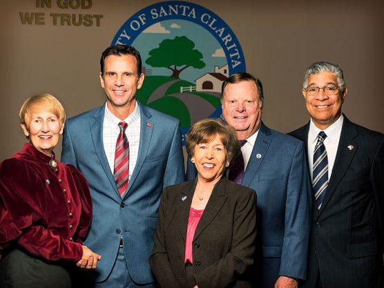 Santa Clarita City Council 2018: Mayor Laurene Weste; Councilman Cameron Smyth; Mayor Pro Tem Marsha McLean; and Councilmen Bob Kellar and Bill Miranda.