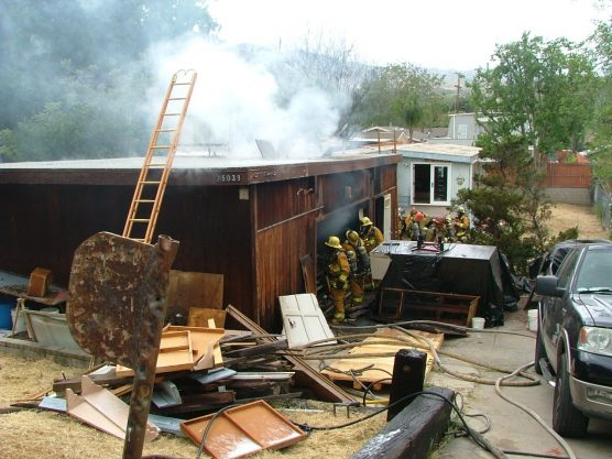 L.A. County firefighters extinguished a garage fire in Newhall Sunday in about 15 minutes.   Photo: Kevin Gilley/two8nine media.
