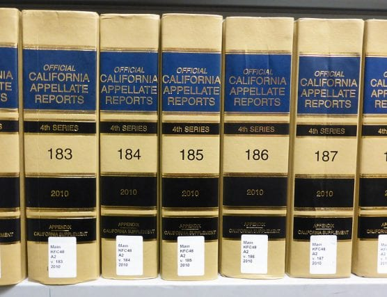 Volumes 183 to 187 of the California Appellate Reports, the official reporter of the California Courts of Appeal. Photographed by user Coolcaesar at a law library in Los Angeles, California on October 11, 2014.