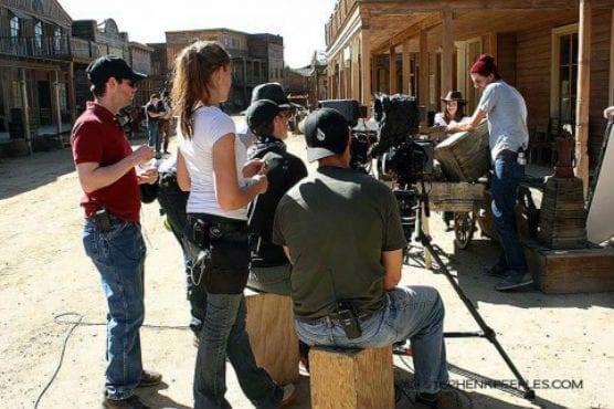 Film crew at Melody Ranch.