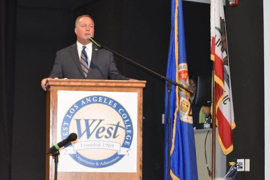 Los Angeles County Assessor Jeffrey Prang delivers a speech at West Los Angeles College.