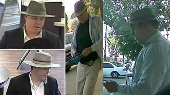 Images of the 'Faux Badge Bandit' were captured on surveillance video at banks in Northern California in mid-July 2018.
