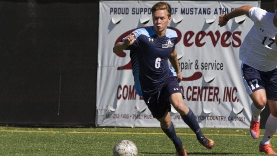 Zach Klindworth, shown here as a Mustang, has been playing soccer in Iceland since April.